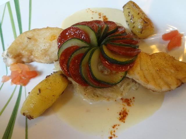 Lotte poêlée, choucroute, sauce raifort © GP