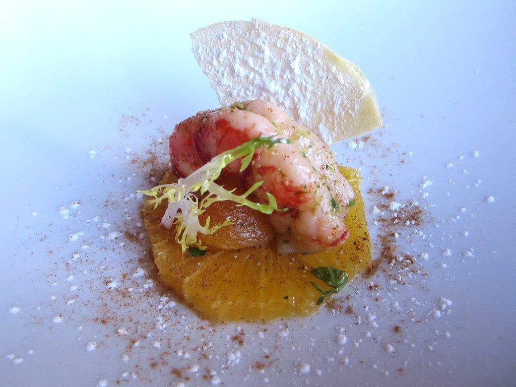 Crevette royale et orange à la cannelle ©Alain Angenost