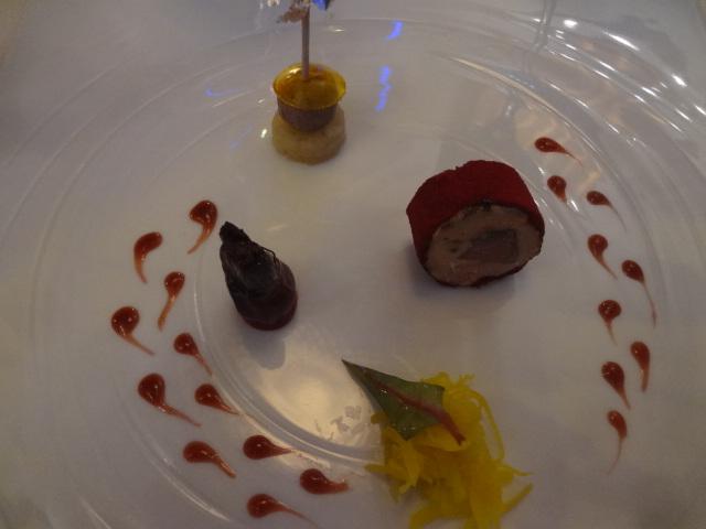 Foie gras, pigeon, betterave © GP