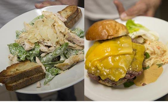 Salade, burger © Maurice Rougemont