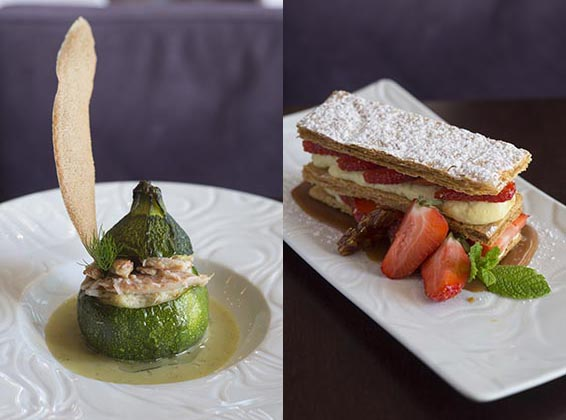 Courgette ronde farcie, mille-feuille © Maurice Rougemont