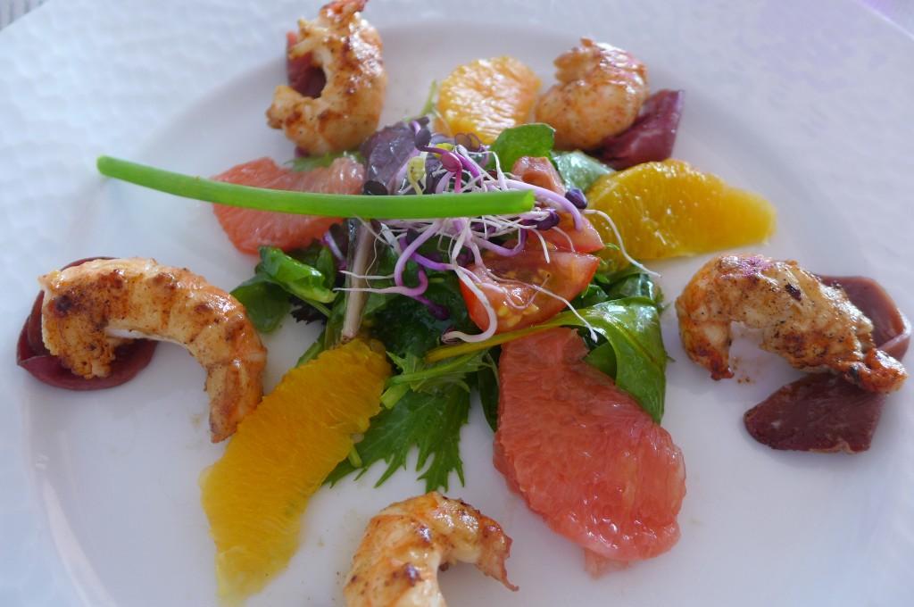 Salade de mesclun et langoustines © GP
