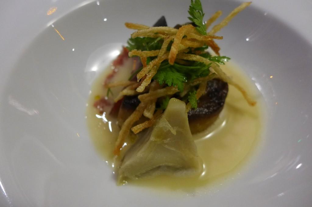 Foie gras chaud, moules, artichaut © GP