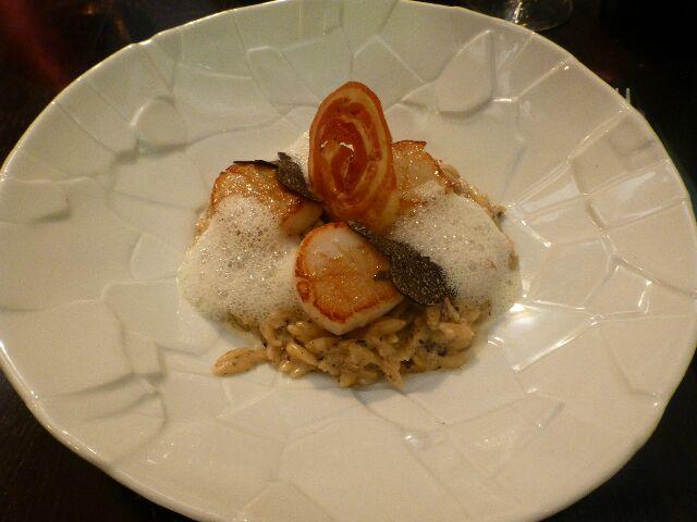 Saint Jacques roties et carbonara de riso© GP