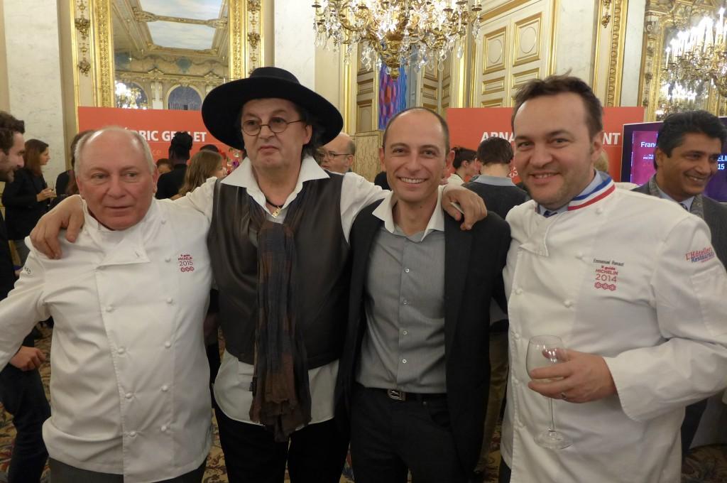 Marc Veyrat entre René et Maxime Meilleur et avec Emmanuel Renaut © GP