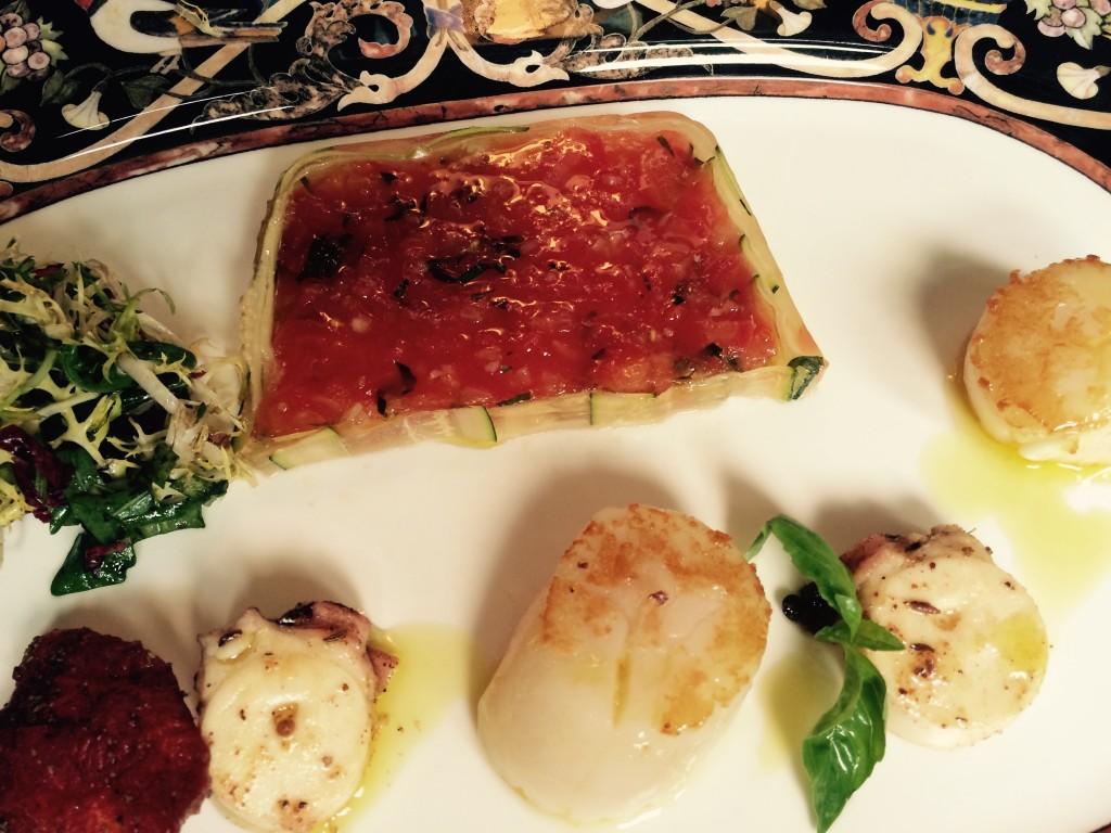 Terrine de tomate, poulpe et saint-jacques © GP