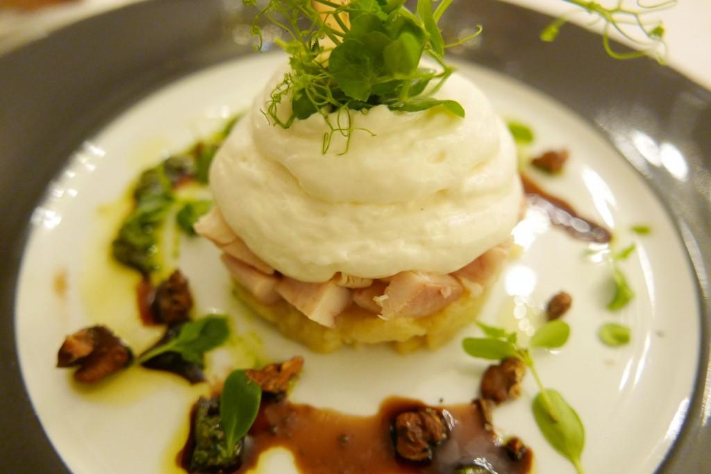 Salade truite, émulsion de munster © GP
