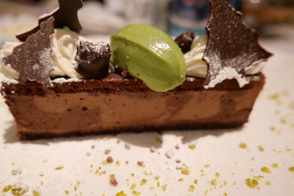 Délice au chocolat, glace pistache © GP
