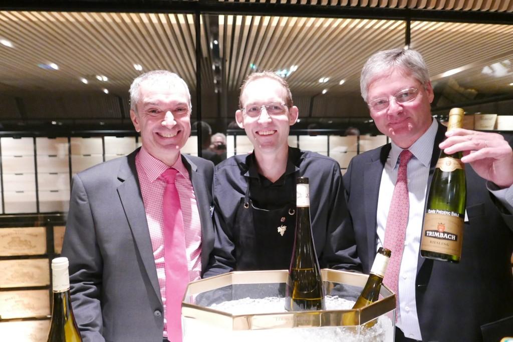 Etienne Hugel, Romain Iltis, Jean Trimbach le 20-09-15 chez Lalique ©GP