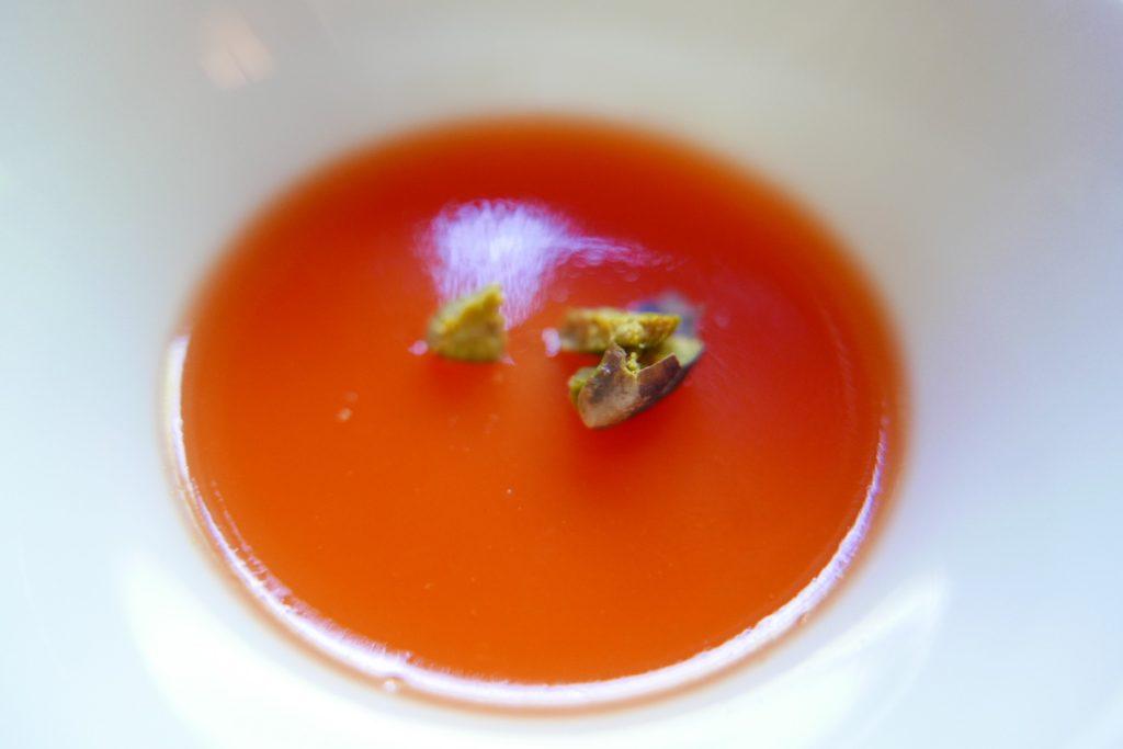 Crème citron, gelée d'orange sanguine et pistaches ©GP