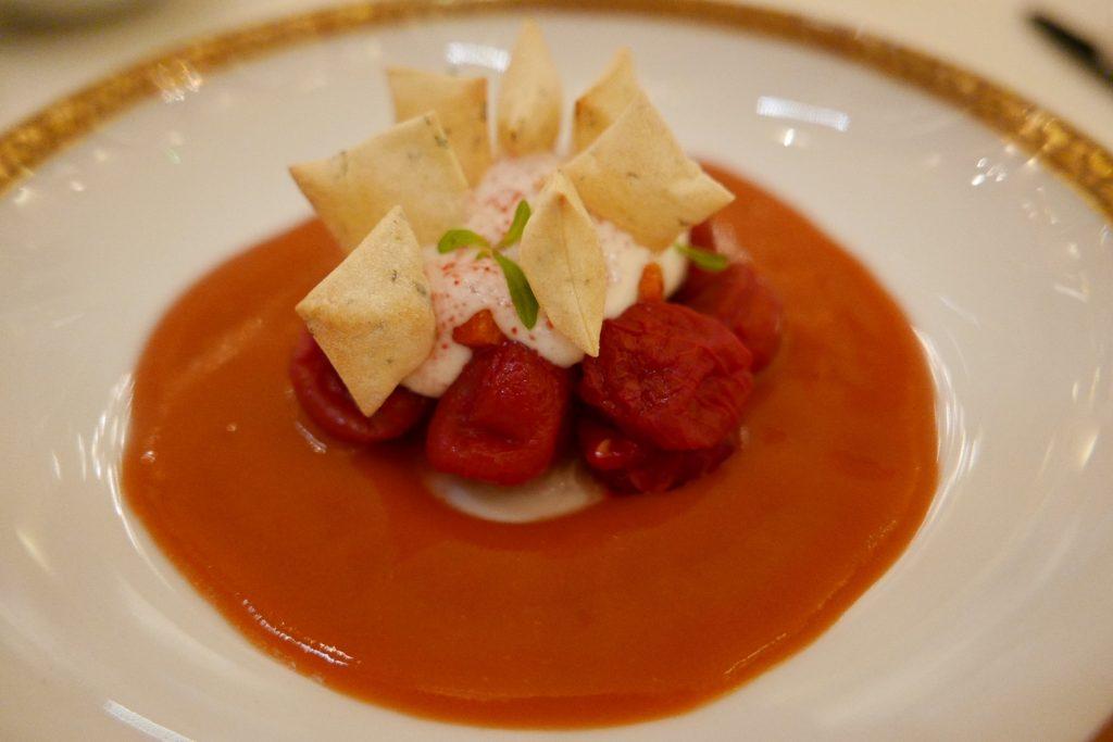 Tomate confite, framboise, burrata © GP