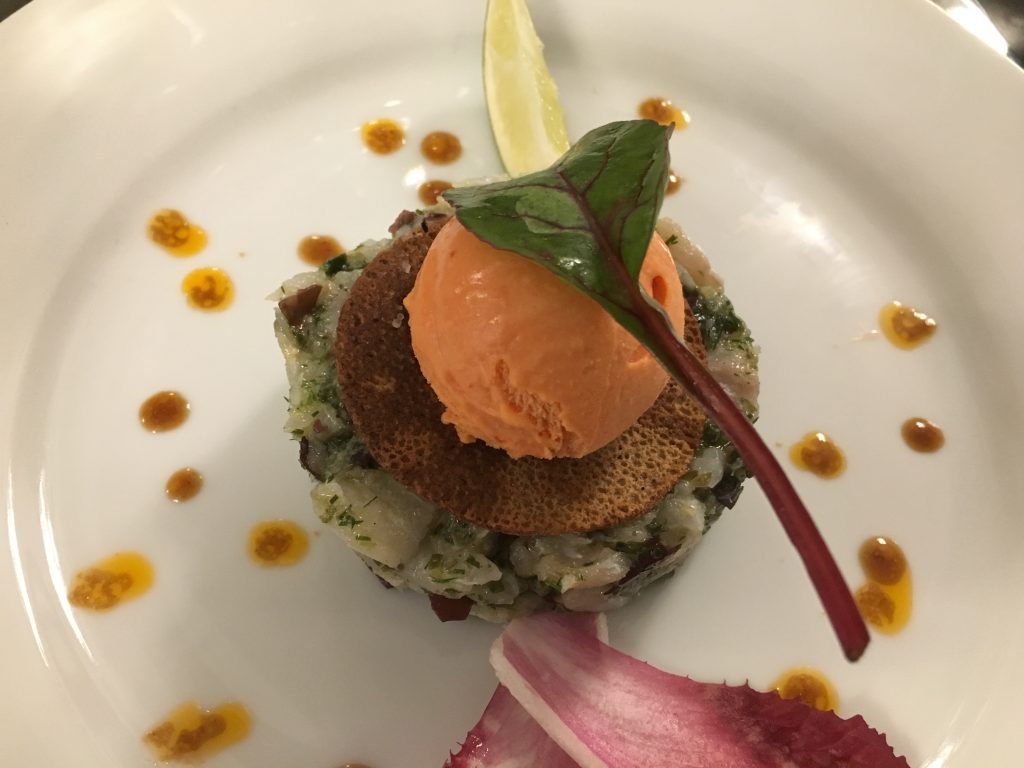 Tartare de lieu aux huîtres er sorbet poivron © GP