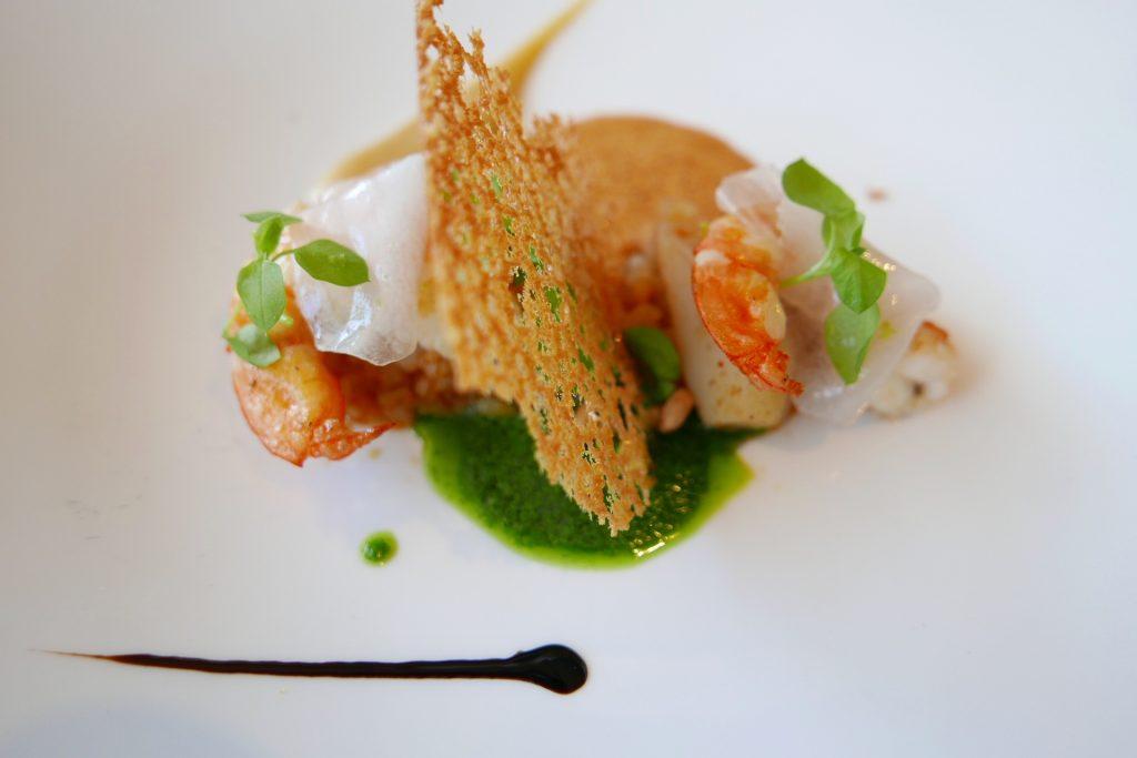 Crevettes, héliantis, saté © GP