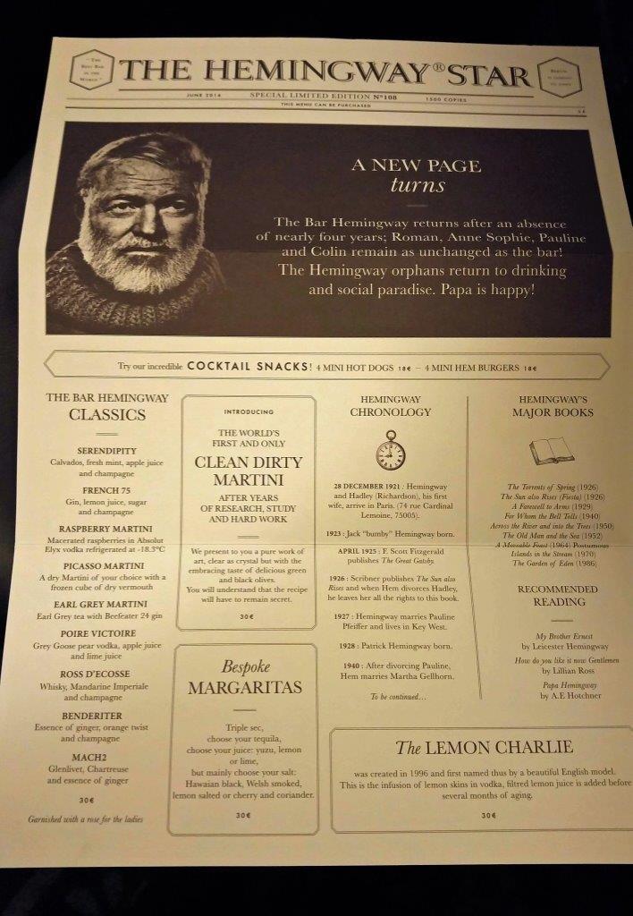 Le journal carte du bar - Le journal du 11 metres ...