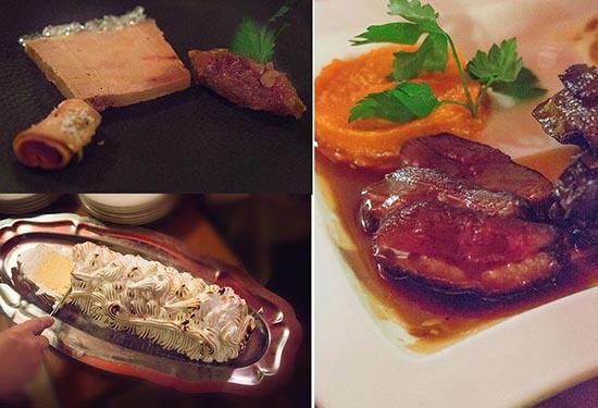 Les plats (foie gras, confit, magret, omelette norvégienne) © Maurice Rougemont