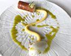 Cylindre caramélisé, crème à l'huile d'olive, sorbet yaourt ©GP