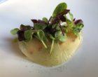 Langoustine juste rôtie avec sa gelée de mirin et caramel de sureau au corail d'oursin ©GP