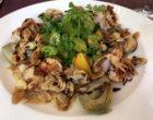 Crevettes sautées, artichauts, amandes grillées © DB