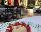 Crème gingembre, framboises, sorbet yaourt  dans la cour ©GP