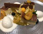 Flan pâtissier, mirabelles fraîches et en compotée, crème de châtaignier © GP
