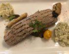 Paillard de veau grillé au jus de porto, boulgour et aubergine © GP